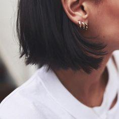 My Tragus, Helix And double lobe piercings! Hope You like it Ear Piercing Ideas For Females Piercing Eyebrow, Piercing Tattoo, Ear Jewelry, Cute Jewelry, Jewellery, Jewelry Shop, Heart Wedding Rings, Lotus Necklace, Moon Necklace