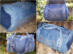 Close up's of mini duffel with cone studs on the front and bottom made from Levi's denim jeans. Corded handles, I used the jeans waistband to create a shoulder strap.