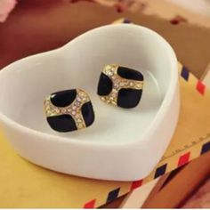 Square Black & Gold Earrings With Rhinestones There's nothing square about these beautiful square gold, black & rhinestone earrings! Great date night or any night pierced earrings. Shoot, great for anytime such as at the office or lunch with the girls. Just perfect! New. No Trades. Boutique Jewelry Earrings