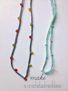 Beaded Crochet necklace. Also look at this tutorial http://cozymadethings.blogspot.co.uk/2013/09/quickie-beaded-crochet-bracelet.html