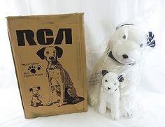 Vintage 1993 Dankin RCA Victor Mascot Nipper and Chipper Dog Stuffed Animal Set
