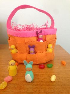 wool felt easter basket to hold our wooden peg easter bunnies and chicks