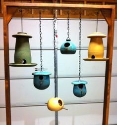 Stoneware Bird Houses and Feeders - Crooked Creek Studio - only for birds - Bird Supplies Pottery Houses, Ceramic Houses, Ceramic Birds, Ceramic Pottery, Ceramic Art, Bird House Feeder, Hanging Bird Feeders, Ceramics Projects, Clay Projects