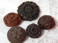 RESERVED - Crochet Top Brown Silk Covered Antique Mold Buttons - 5