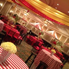 """Elegant Circus Theme- I think using a deep red instead of the plain red would step up the class factor. THINK """"Water for Elephants"""" Vintage and Classy"""