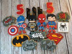Superhero Cookies Comic Cookies Batman Cookies por FlourishCookies
