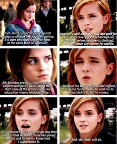 Emma Watson is amazing. Forget every other female in the entertainment industry, THIS is the woman EVERY little/teenage/young adult girl should look up to. Emma Watson is one in a billion. Memes Do Harry Potter, Harry Potter Love, Harry Potter Fandom, Potter Facts, Harry Potter Cast, Hogwarts, Fandoms, Movies Quotes, Just Keep Walking