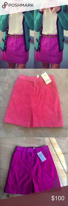 Pink Lilly Pulitzer Denise sided skirt Lilly Pulitzer suede skirt. Style name: Denise Suede skirt. Style 64494 suggested price 188$. 100% suede, polyester lining. Lilly Pulitzer Skirts Midi