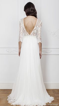 divine atelier 2016 bridal gowns three quarter sleeves illusion jewel straight across neckline embellished bodice modern a line wedding dress with split v back brush train (amal) bv