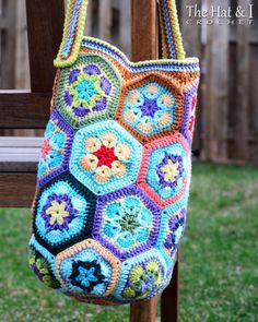 CROCHET PATTERN Boho Bag an african flower crochet by TheHatandI