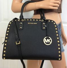 Michael Kors Large Satchel Saffiano Leather MK Black Gold Shoulder Bag Purse