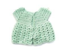 Baby Sweater in Crochet - Green Cap Sleeved Cardigan, Turquoise or Pale Blue - Handmade by Amanda Jane in Ireland