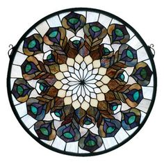 "<strong class=""js-codeception-manufacturer"">Meyda Tiffany</strong> Tiffany Peacock Feather Medallion Stained Glass Window"