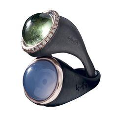 #black #plated #silver #rosegold #brilliants #tourmaline