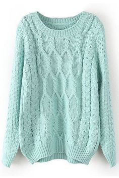 Shop Twisted Knited Loose Mint Jumper at ROMWE, discover more fashion styles online. Cute Sweaters, Cable Knit Sweaters, Chunky Sweaters, Pullover Sweaters, Mint Sweater, Green Sweater, Loose Sweater, Vestidos Polo, Sweater Weather
