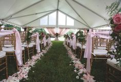Pink wedding aisle decor for outdoors. View more from this classy pink Tri-Cities wedding under a tent! Pics by @ladonnacable | The Pink Bride® www.thepinkbride.com