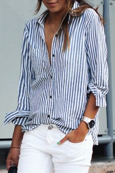 The blue and white striped shirt is featuring breast pocket, long sleeve, button down.