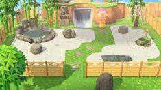 animal crossing island ideas Finally finished my Japanese rock garden. It took so long to create the path design! Animals Crossing, Animal Crossing Guide, Animal Crossing Qr Codes Clothes, Path Design, Garden Design, Zen Design, Modern Design, Japanese Rock Garden, Unique Garden