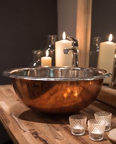 Copper & Tin Basin - Indigenous Ltd Copper Vessel Sinks, Copper Bathroom, Bathroom Basin, Copper Tub, Barn Bathroom, Copper Nickel, Basin Sink, Washroom, Master Bathroom
