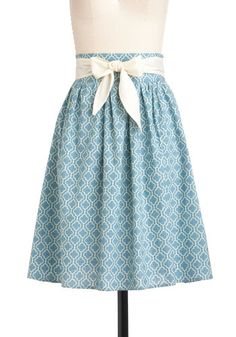 Designer Dreams Skirt - Mid-length, Blue, Belted, Casual, A-line, White, Print, Summer, Pastel, Spring, Vintage Inspired, 50s