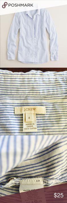 Tuxedo tunic J.crew tuxedo tunic pinstripe striped button down...., gently used J. Crew Tops Button Down Shirts