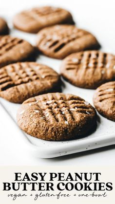 Vegan Baking Recipes, Peanut Butter Recipes, Vegan Dessert Recipes, Easy Cookie Recipes, Recipes With Vegan Butter, Vegan Gluten Free Desserts, Vegan Sweets, Vegan Snacks, Easy Vegan Cookies