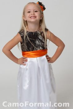 camo and orange wedding gowns this would be cute for a flower girl if colors wear camo and orange