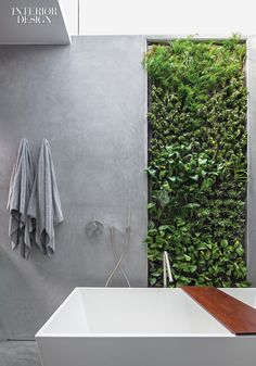 In the master bathroom, a hydroponic plant wall joins troweled plaster. Super-Green House by Minarc