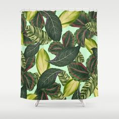 Tropical Shower Curtain, Green Shower Curtain, Tropical Leaf Bath Decor, Floral Bathroom Accessories, Old Hollywood Glam Leaf Print, Leaves by OlaHolaHolaBaby on Etsy