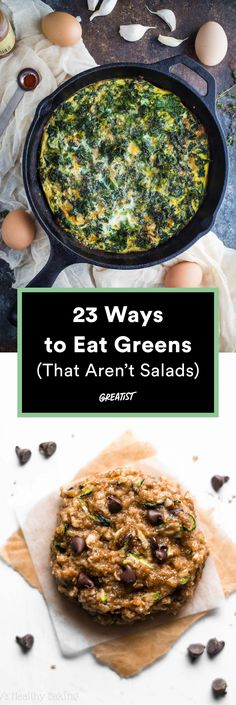 23 Ways to Eat Greens (That Aren't Salads) is part of Green Vegetable recipes - From broccoli at breakfast to peas for dessert (really!), these recipes prove it's easy being green Cooked Vegetable Recipes, Vegetable Korma Recipe, Spiral Vegetable Recipes, Vegetable Samosa, Vegetable Casserole, Vegetable Dishes, Veggie Recipes, Vegetarian Recipes, Vegetable Spiralizer