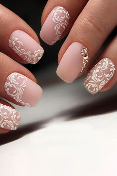 Outstanding Perfect Pink And White Nails For Brides See more: www.weddingforwar… The post Perfect Pink And White Nails For Brides ❤ See more: www.weddingforwar… appeared first on Nails . Wedding Day Nails, Wedding Manicure, Wedding Nails Design, Lace Nail Design, Pink Wedding Nails, Bridal Nails Designs, Bridal Nail Art, Nail Art Designs, Bridal Shower Nails