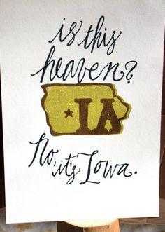 Iowa Letter Press Print