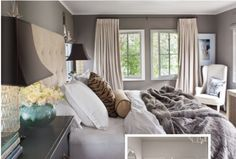 Creamy drapes on gray walls