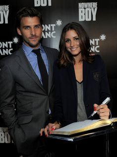 Johannes Huebl Olivia Palermo signs the guest book at the global launch of The Montblanc John Lennon Edition writing instrument at Jazz at Lincoln Center on September 12, 2010 in New York City.