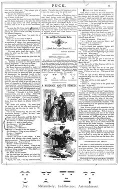 The very first use of emoticons, Puck Magazine, 1881. Click image for details.... Ironic Serif: A Brief History of Typographic Snark and the Failed Crusade for an Irony Mark – Brain Pickings
