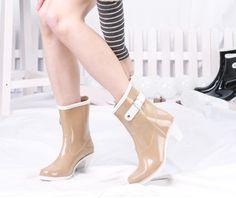 Hot women in Wellington Rain Boots  | ... heeled women rain boots , Galoshes waterproof shoes , wellington boots