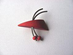 Aarikka Vintage Red Wooden Brooch Retro Geometric #Aarikka