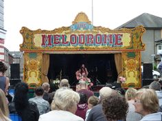 Jo Ripley performs on the Melodrome stage. Cumbria, Stage, Fair Grounds