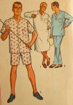 Vintage Mens Pajamas Sewing Pattern  I made this nightshirt for my dad when I was in high school.
