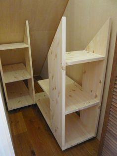 Under stairs storage? Under stairs storage? Attic Storage, Storage Stairs, Bedroom Storage, Bedroom Loft, Eaves Storage, Garage Storage, Under Stair Storage, Stair Shelves, Garage Attic