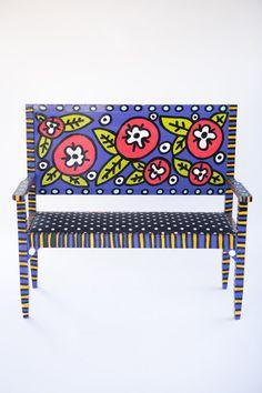Hand-built & hand-painted adult bench. Custom by emilysoriginalart