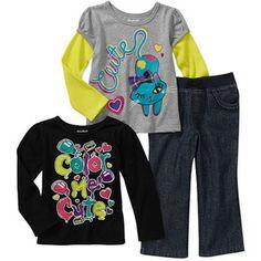 Garanimals Baby Girls' 3 Piece Graphic Tee's And Ruffle Pant Set
