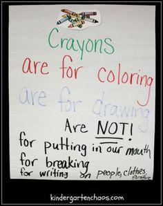 Using Crayons Anchor Chart