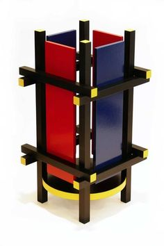 "The Red & Blue table light is based on the famous ""Red Blue Chair"" designed by the Dutch furniture maker and architect Gerrit Rietveld in 1923. The iconic chair, though quite striking, does not function particularly well as such due to its extreme adherence to pure geometric planes. This lamp pays homage to that pu"