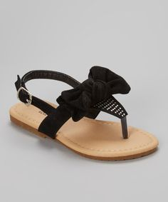 Another great find on #zulily! Black Studded Bow Julia Sandal by QQ Girl #zulilyfinds