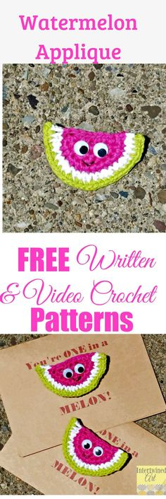 This works up super fast! Make this cute crochet watermelon pin, or turn it into a magnet, applique, or bunting. Free written pattern and video tutorial.