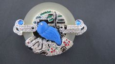 Signed-1989-ART-DECO-Blue-Bird-Frosted-Glass-Pave-Rhinestone-Brooch