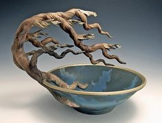 Ship Date: weeks Hand-thrown bowl with attached tree sculpture, gold acrylic accent, smoked-fired blue teal finish. About the Artist: Bonnie BeltHome :: Shop by Trade :: Pottery and Ceramic Arts :: Cypress Flared Bowl -Made to order/Ships Free in 6 W Ceramic Clay, Ceramic Bowls, Ceramic Pottery, Pottery Art, Slab Pottery, Thrown Pottery, Pottery Studio, Pottery Sculpture, Tree Sculpture