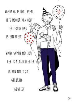 Persoonlijk gedicht met illustratie voor Marrit, Wim en Sjon