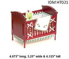 Baby Crib w/Bedding -Mahogany- DOLLHOUSE MINIATURE 1/12 SCALE FURNITURE
